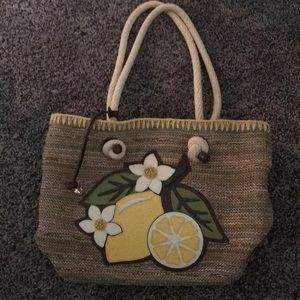 Brighton straw and leather lemon detail tote bag
